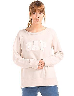 GAP Women White Relaxed Felt Logo Pullover Sweatshirt
