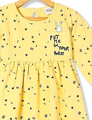 Donuts Yellow Girls Printed Fit And Flare Dress