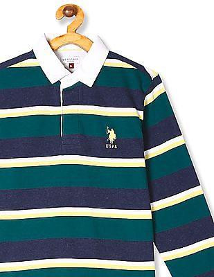 U.S. Polo Assn. Kids Green Boys Long Sleeve Striped Polo Shirt