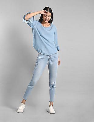 GAP Blue Ruffle Sleeve Tencel Top