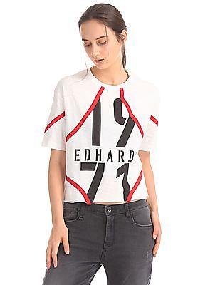 EdHardy Women Crew Neck Printed T-Shirt