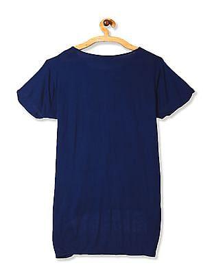 Cherokee Blue High Low Hem Knit Top
