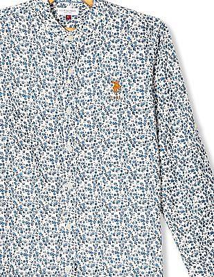 U.S. Polo Assn. Kids Beige Boys Floral Print Mandarin Collar Shirt