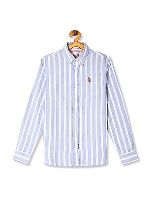 U.S. Polo Assn. Kids Blue Boys Striped Button Down Shirt