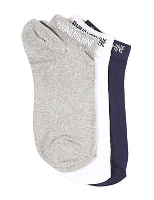Flying Machine Assorted Solid Ankle Socks - Pack Of 3
