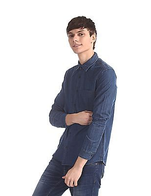 Cherokee Blue Patch Pocket Solid Shirt