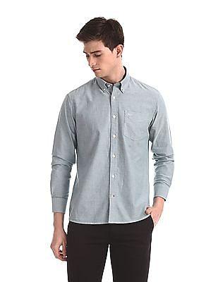Arrow Sports Green Slim Fit Oxford Shirt