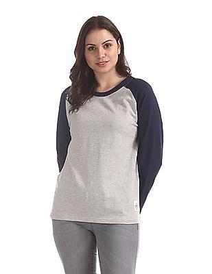 Flying Machine Women Grey Crew Neck Colour Block Sweatshirt