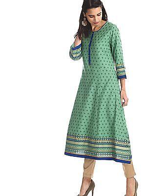 Anahi Green Round Neck Printed Kurta