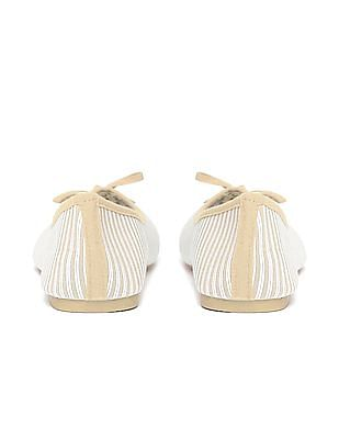 SUGR Round Toe Striped Ballerinas