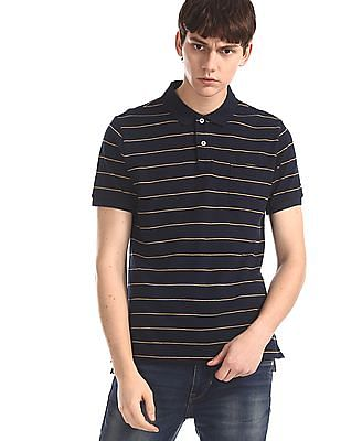 Arrow Sports Blue Striped Pique Polo Shirt