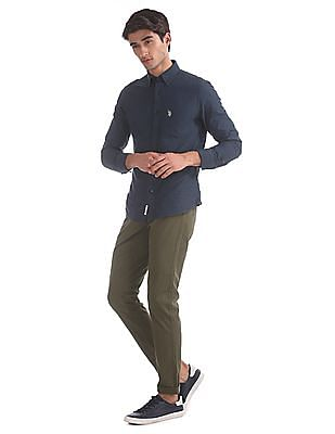 U.S. Polo Assn. Green Austin Trim Regular Fit Flat Front Trousers