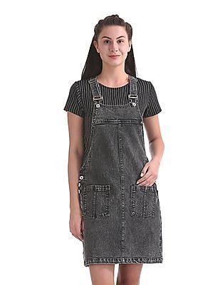 SUGR Washed Denim Dungaree Skirt