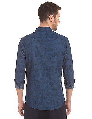 True Blue French Placket Printed Shirt