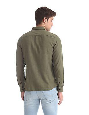 U.S. Polo Assn. Denim Co. Green Button Down Patterned Weave Shirt