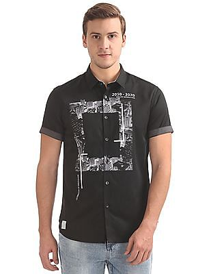 Flying Machine Printed Front French Placket Shirt