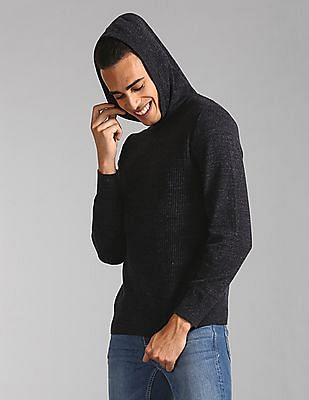 GAP Hooded Patterned Knit Sweater