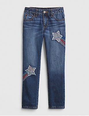 GAP Girls Rainbow Star Patch Girlfriend Jeans