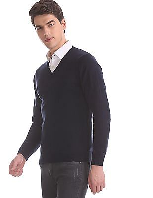 Arrow Blue V-Neck Solid Sweater