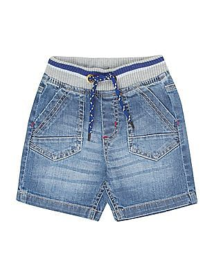 Donuts Boys Contrast Waist Denim Shorts