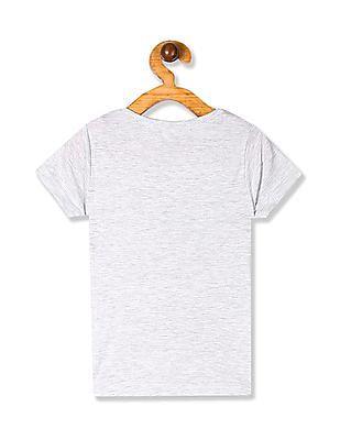 Cherokee Grey Girls Glitter Print Cotton T-Shirt