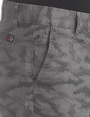 Flying Machine Grey Super Slim Fit Printed Shorts