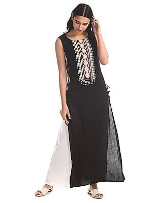 Bronz Black Layered Printed Maxi Dress