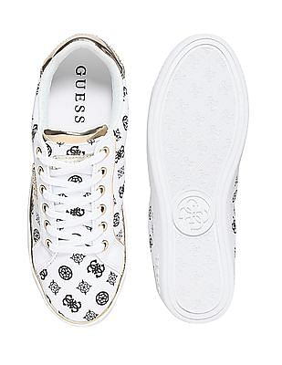GUESS Brand Print Leather Sneakers