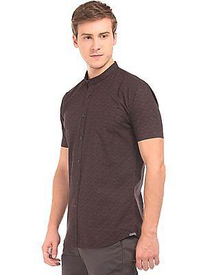 Arvind Mandarin Collar Printed Shirt