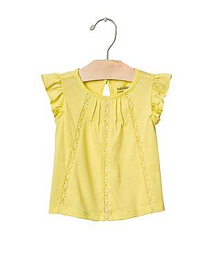GAP Baby Yellow Lace Trim Flutter Top