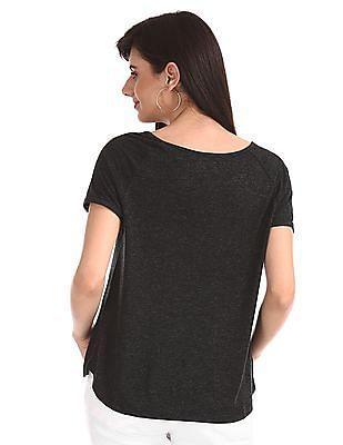 Elle Studio Black Raglan Sleeve Embellished T-Shirt