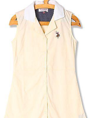 U.S. Polo Assn. Kids Girls Standard Fit Solid Shirt Dress