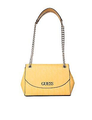 GUESS Linked Metal Chain Embossed Shoulder Bag