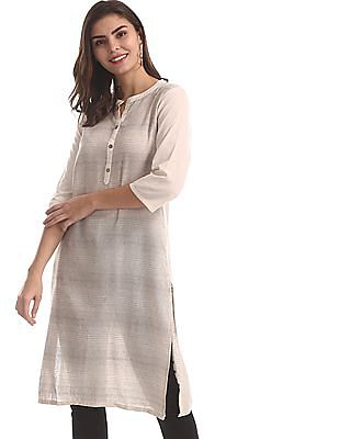Karigari White Notched Neck Patterned Weave Kurta
