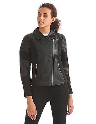 Elle Long Sleeve Panelled Biker Jacket