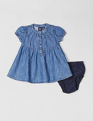 GAP Baby Denim Puff-Sleeve Shirtdress
