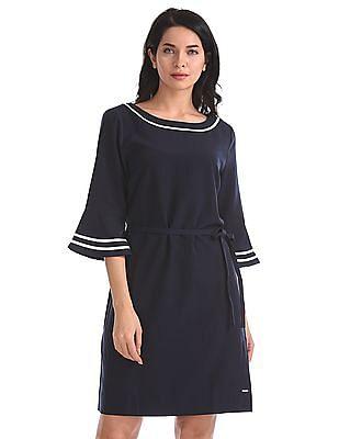 Nautica Three-Quarter Sleeve Belted Tipping Dress