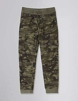 GAP Green Boys Jersey-Lined Cargo Joggers