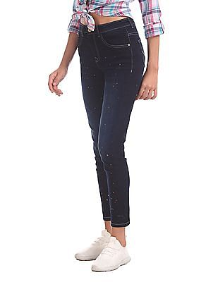 U.S. Polo Assn. Women Super Skinny Fit Paint Splattered Jeans