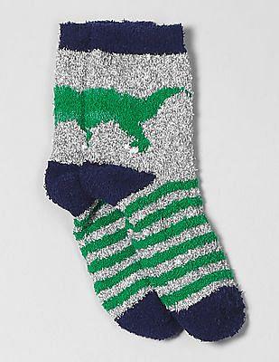 GAP Boys Grey Cozy Dino Stripe Socks