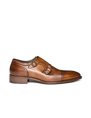 Johnston & Murphy Monk Strap Leather Derby Shoes