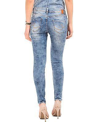 Elle Acid Wash Skinny Fit Jeans