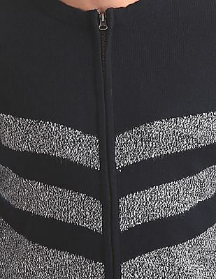 Flying Machine Patterned Zip Up Sweater
