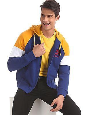 U.S. Polo Assn. Blue Hooded Colour Block Sweatshirt