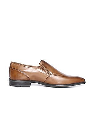 Arrow Burnished Leather Slip On Shoes