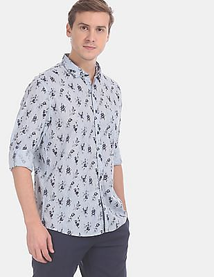 Cherokee Men Blue Spread Collar Printed Casual Shirt