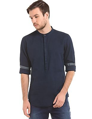 True Blue Mandarin Collar Popover Shirt