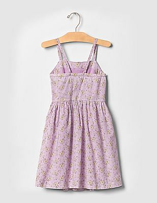 GAP Girls Purple Floral Cross-Back Fit And Flare Dress