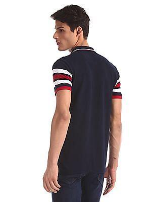 Arrow Sports Blue Stripe Sleeve Pique Polo Shirt