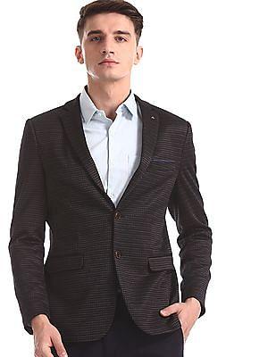 Arrow Newyork Black Zero Calorie Slim Fit Patterned Weave Blazer